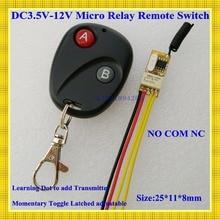 DC3V 3,6 V 3,7 V 5V 6V 7,4 V 9V 12V Mini relé interruptor inalámbrico Control remoto de potencia LED controlador de lámpara transmisor receptor Micro