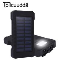 10000mAh Solar Power Bank Portable Solar Panel Charger External Battery Poverbank Dual USB LED Powerbank Mobile Phone Charger