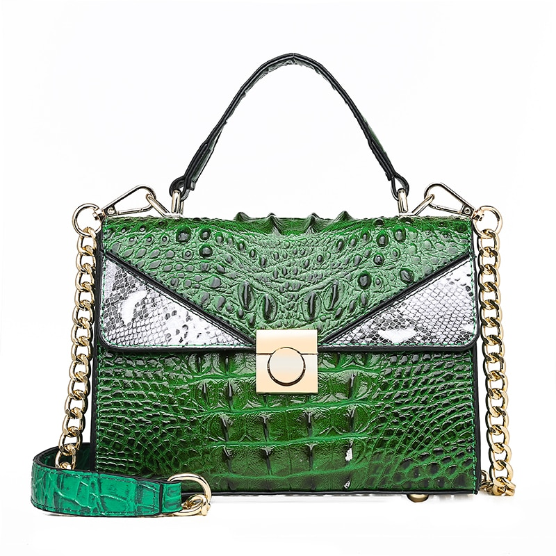 Luxury Handbag Python Tote Bags Women 2019 Small Designer Lock Crocodile Pattern Leather Shoulder Messenger Bags Chain Bolsa Red