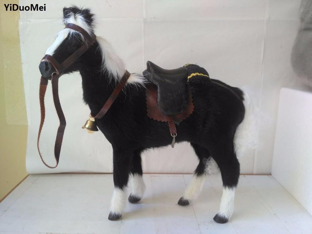 Modelo de Polietileno Decoração da Casa de Brinquedo Cavalo Simulação Peles Grande 28x10x26 cm Preto Artesanato D2800 &