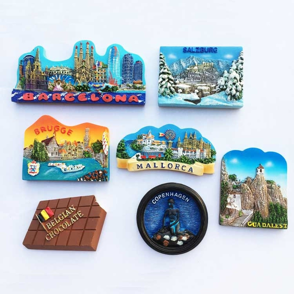 España Austria Dinamarca Bélgica turista souvenir imán para nevera decoraciones del hogar