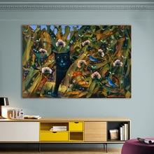 Hdarartisan-images murales dart pour salon   Décor de maison avec chat I espion pour chambre denfants, toile de peinture danimaux sans cadre