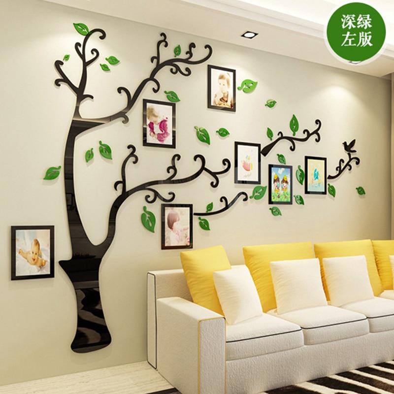 3D DIY familia foto de boda árbol PVC pegatinas de pared, arte hogar Decoración de fondo de TV pegatinas de pared, 4 tamaños póster de pared mural