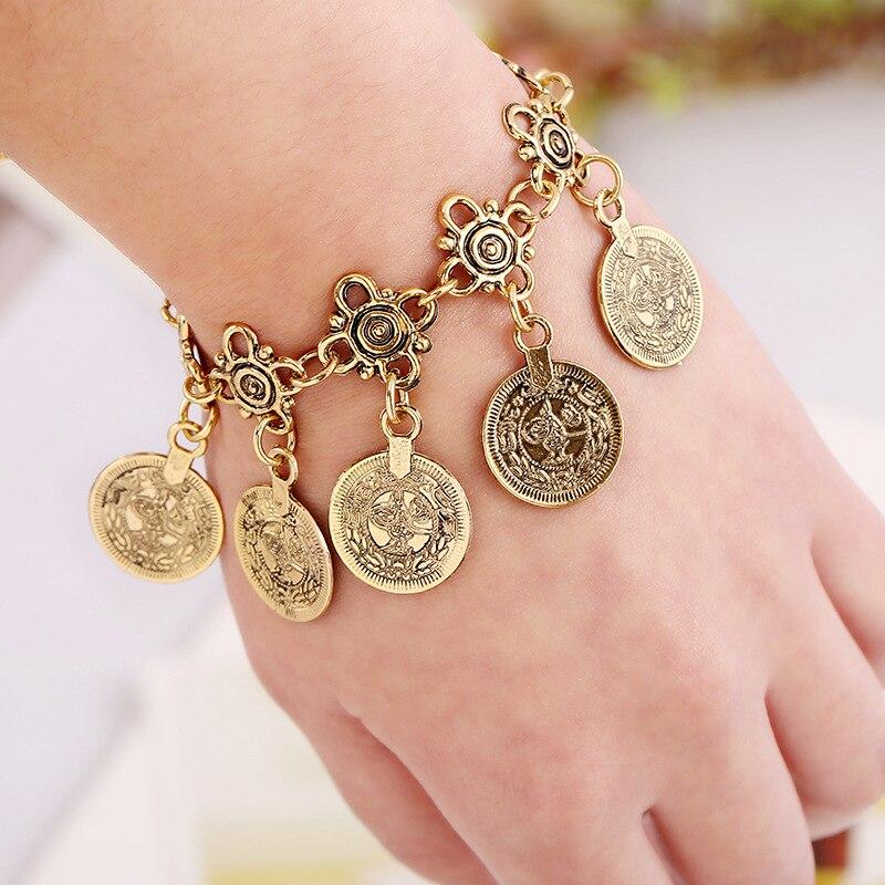 Tribal maxi moeda jóias estilo boêmio borla charme pulseiras vintage antigo bronze jóias pé corrente