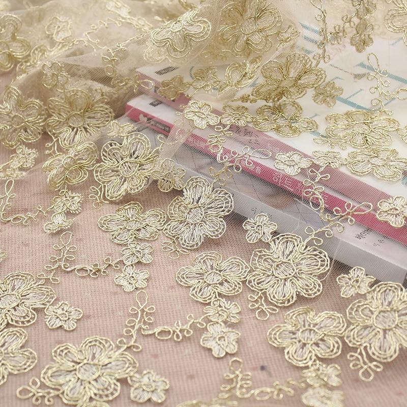 Golden Creeperflower tela de encaje bordado vestido de boda material de falda de tul telas para patchwork kumas telas por metros