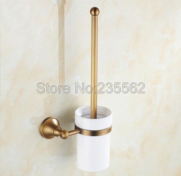جدار الحمام العتيقة النحاس فرشاة المرحاض حامل كأس السيراميك مجموعة lba149