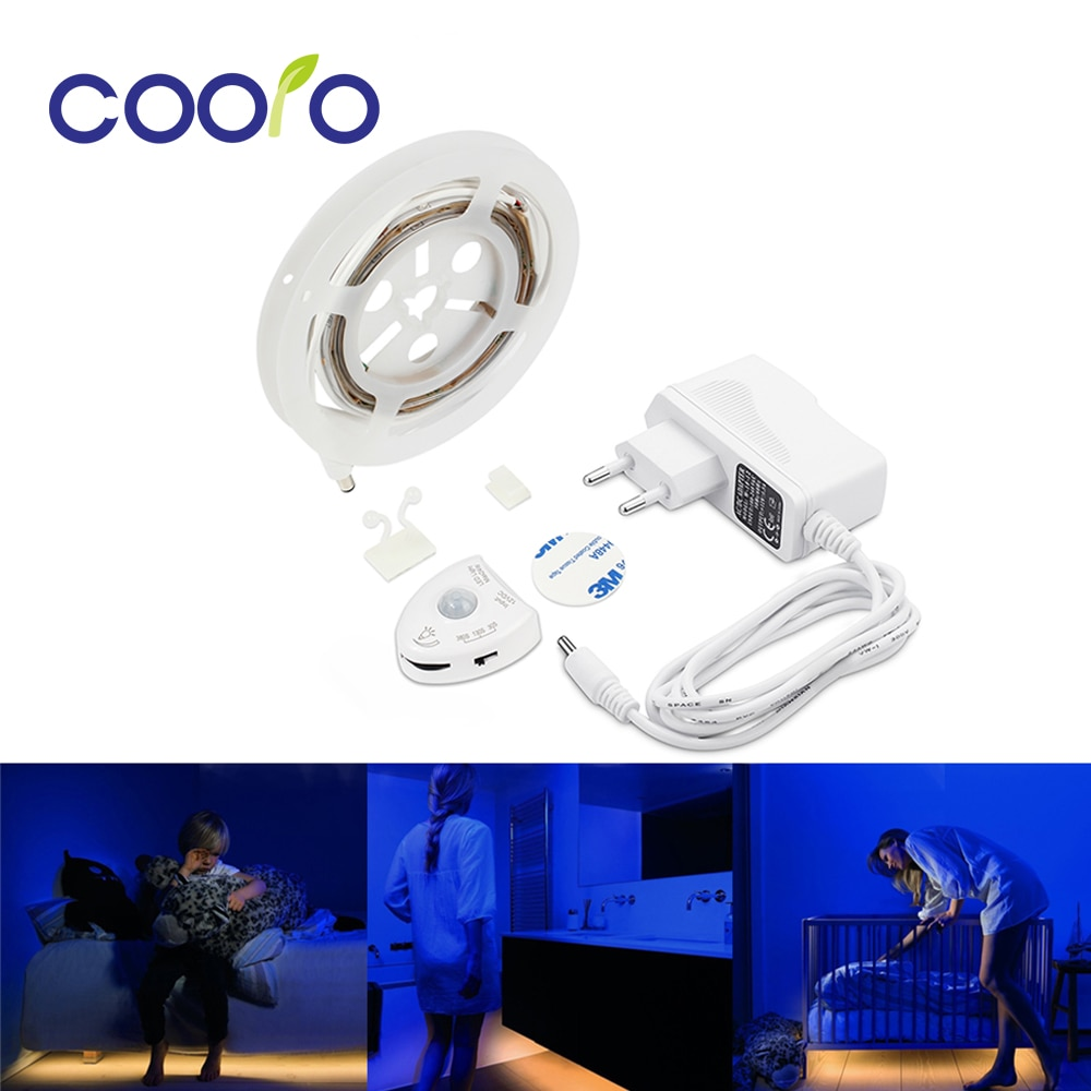 Светодиодная лента с датчиком движения под кровать, теплая белая светодиодная лента с автоматическим таймером отключения, для шкафов/подно...