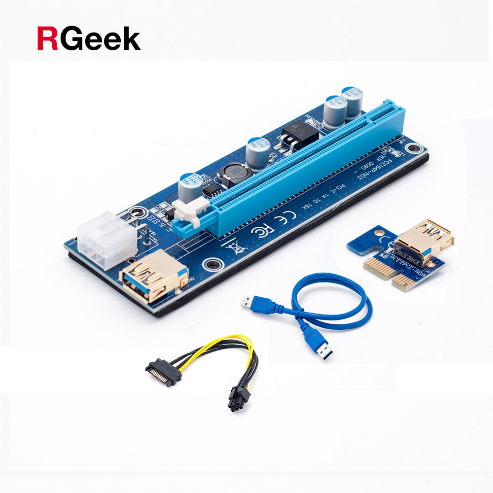 Riser PCI-E PCI E Express 1X do 16X Riser karty 60 CM USB 3.0 PCI-E SATA do 6Pin kabel zasilający dla BTC Bitcoin górnictwa górnik Antminer