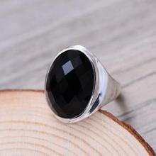 Véritable argent Sterling 925 noir Onyx anneaux pour les femmes Simple lisse ovale forme multi-facettes pierre naturelle redimensionnable anneaux