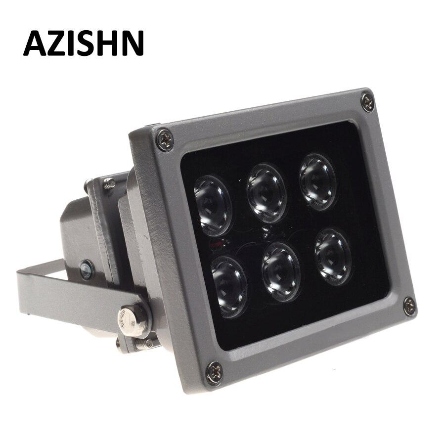 AZISHN CCTV LEDS IR iluminador infrarrojos lámpara 6 uds conjunto Led IR al aire libre impermeable visión nocturna CCTV Luz de relleno para cámara CCTV