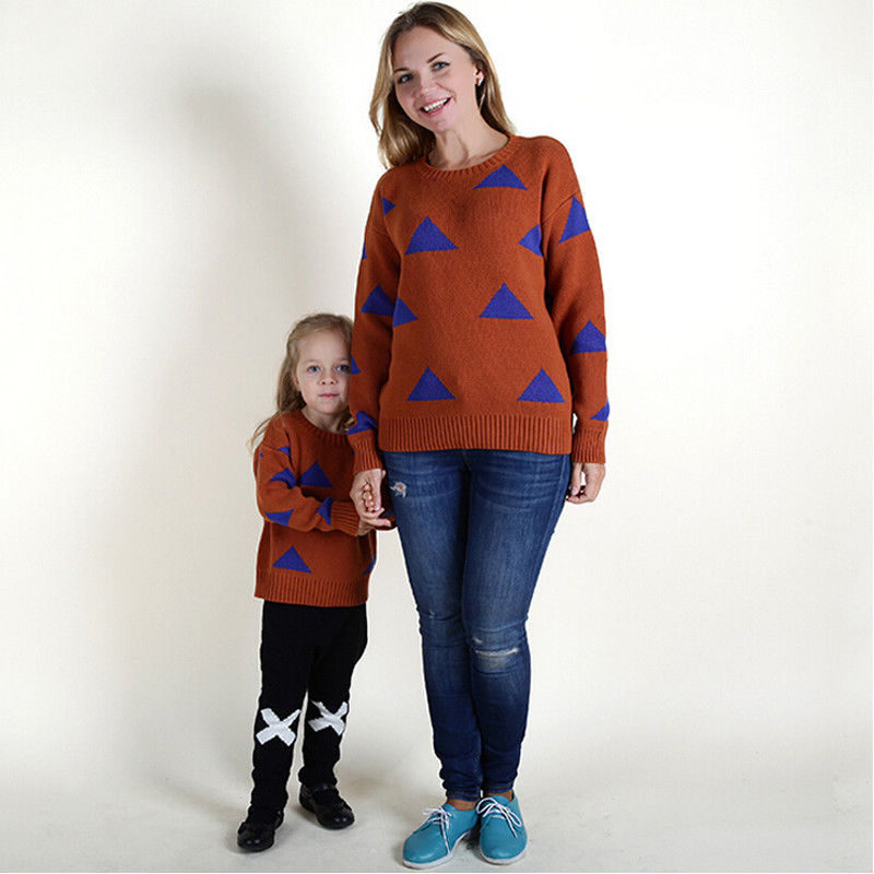 2017 Nieuwe Merk Familie Look Moeder En Dochter Top Knit Shirt Kleding Bijpassende Trui Jumper Outfits Casual Kleding Tops