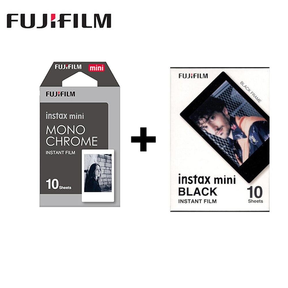 2 упаковки Fujifilm Instax Mini монохромная пленка + черная рамка для Polaroid Mini 8 7s 7 50s 50i 90 25 dw Share SP-1 мгновенная камера