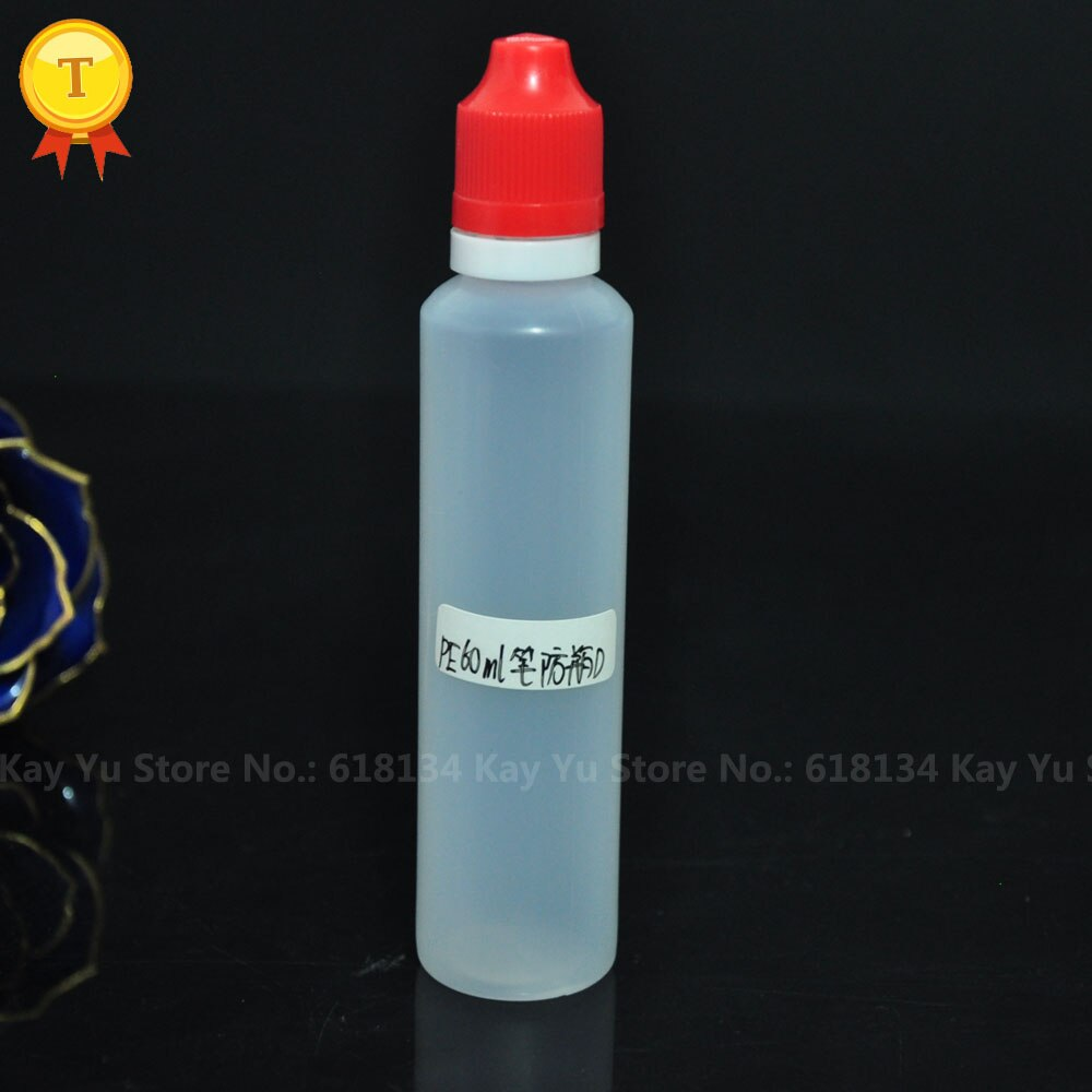 1500 piezas 60 ml cuentagotas botellas pluma botella de 60 ml botella de líquido con CRC y tapa a prueba de manipulaciones