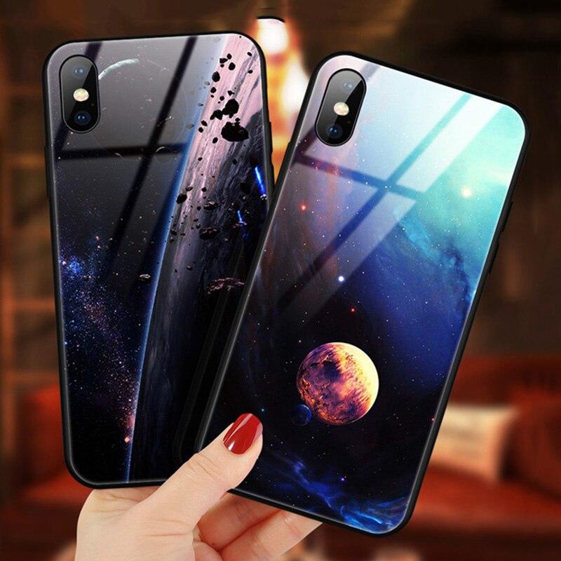 Funda de cristal para iPhone 7 8 11X10 6 s XS Star Space para iPhone 8 7 6 6 s Plus X funda de silicona a prueba de golpes Coque 6
