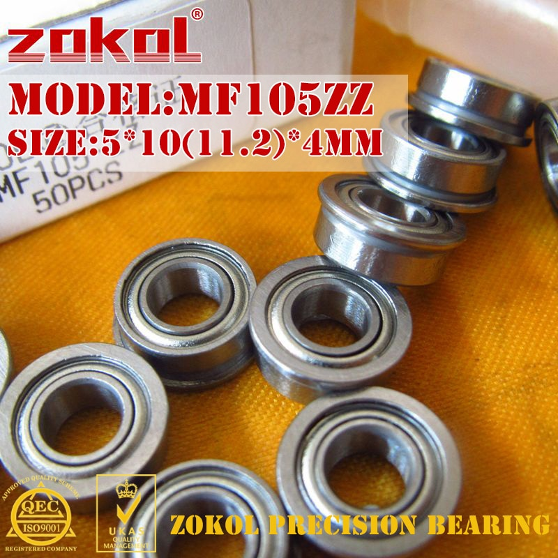 ZOKOL MF105 ZZ rodamiento MF105ZZ rodamiento de brida MF105-ZZ rodamiento rígido de bolas 5*10 (11,2) * 4mm