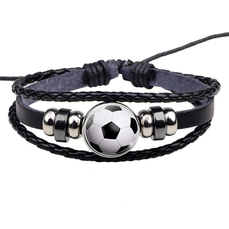 Moda futebol pulseira de couro de vidro cúpula metal fivela punk jóias tecer multicamadas masculino feminino esporte acessórios presente