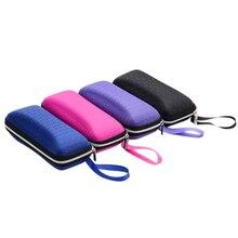 1 pièces 4 couleurs protecteur boîte à lunettes boîte avec lanière fermeture éclair Portable lunettes de soleil étui pour femmes couverture de lunettes pour hommes