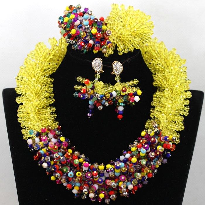Lindo Amarelo & Mistura Multicolor Declaração de Contas de Cristal de Noiva Conjunto de Colar WA536 Nigeriano Chunky Bijuteria Frete Grátis