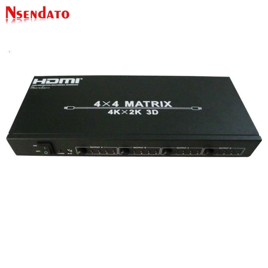 HDMI, 4x4, matriz de 4kX2K interruptor 4 en 4 HDMI RS232 Splitter apoyo 120Hz 3D 60Hz de Audio vídeo HDTV conmutador HDMI adaptador