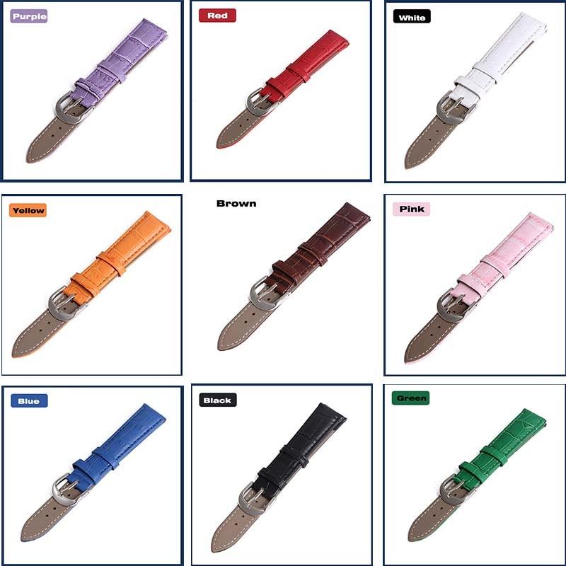 Correa de reloj correas de cuero genuino 12Mm 18Mm 20Mm 14Mm 16Mm 19Mm 22Mm accesorios de reloj para hombre correas de colores marrones de alta calidad