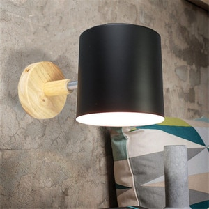 Nordic Macaroon Modern E27 Wall Lamps Wood Wall Lights Bedroom Beside LED Lights LED Button Switch Light Fixture AC110-265v