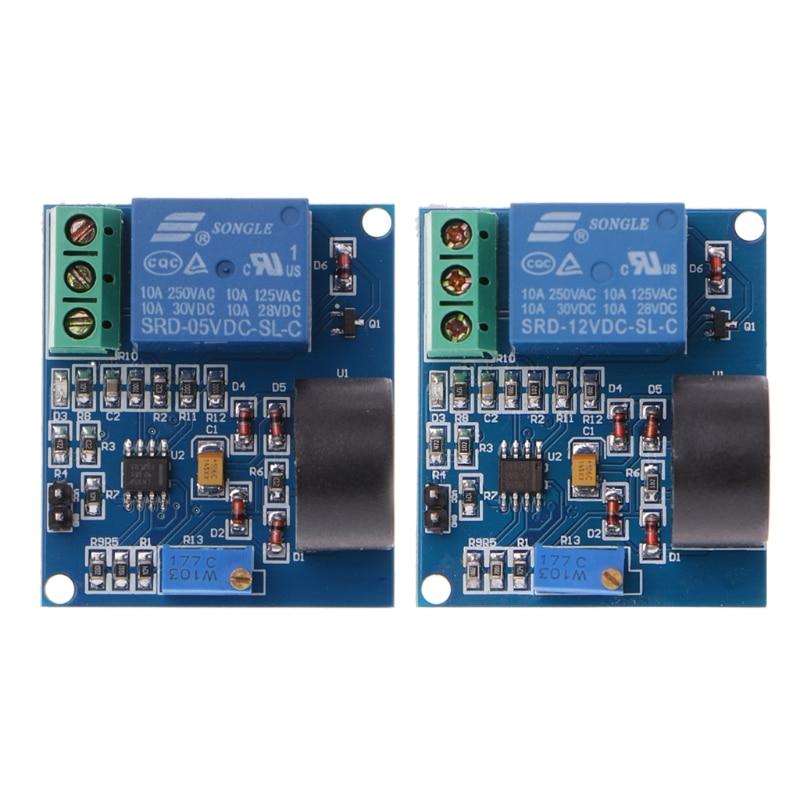 OOTDTY 5A Módulo de relé de protección sobrecorriente AC Placa de detección de corriente 12 V/5 V placa de detección de relé señal de conmutación de salida