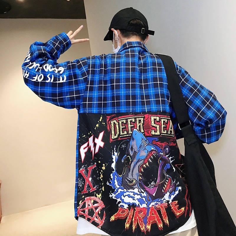 Estampado de tiburones, camisas de manga larga para hombre, geniales camisas Harajuku para hombre, camisas casuales a cuadros, ropa de calle, moda 2019, camisa coreana para hombre