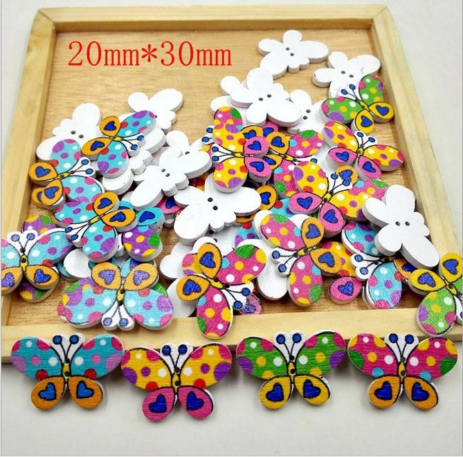Geinne, 50 Uds., botones de madera de mariposa de colores, botones decorativos para libro de recortes, 2 agujeros, accesorios de costura mezclados 20*30MM
