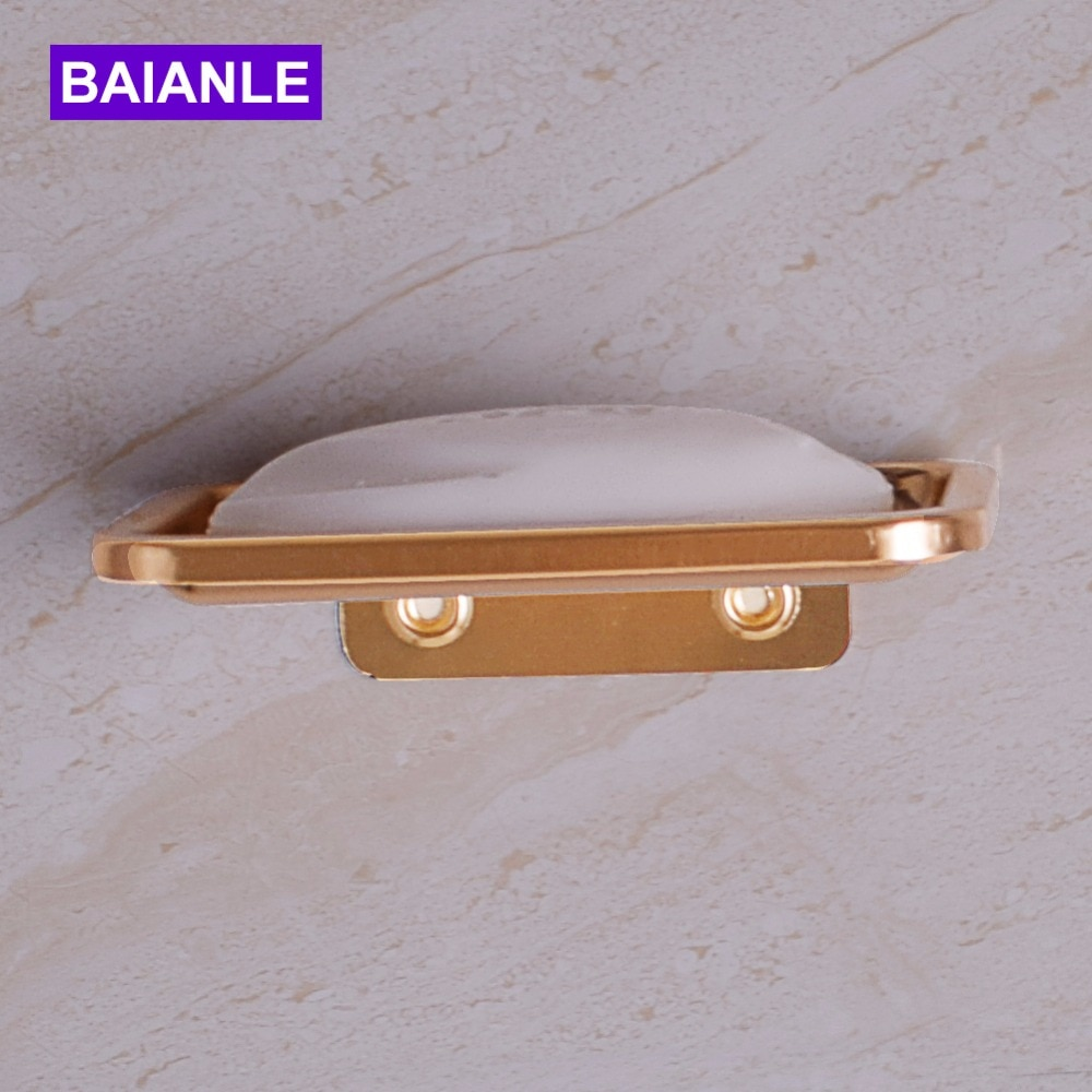 Space aluminum Wall Mounted Soap Dish Soap Holder Box Soap Basket Rectangle Dish Holder Bathroom Accessories leyden new brass oil rubbed bronze soap dishes ceramic soap basket wall mounted shower soap dish holder bathroom accessories