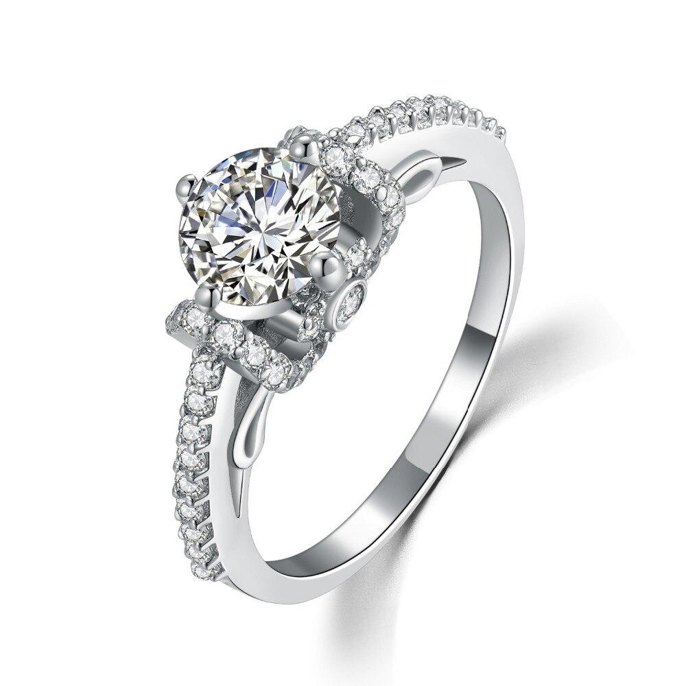 PT950 estampado 1Ct plata esterlina preciosa en oro blanco 18K marca confiable anillo de diamante para las mujeres boda joyería de moda s925