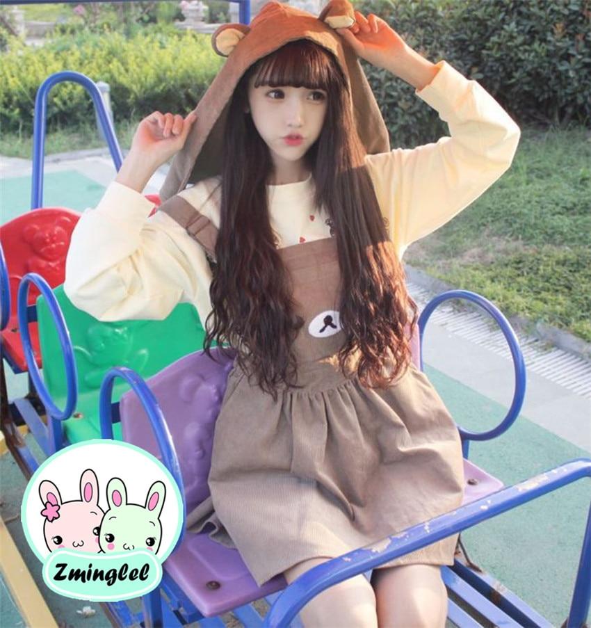 Bonito vestido con tirantes Lolita Kawaii Rilakkuma, vestido de invierno bordado con oso para mujer, vestido entero con gorro extraíble