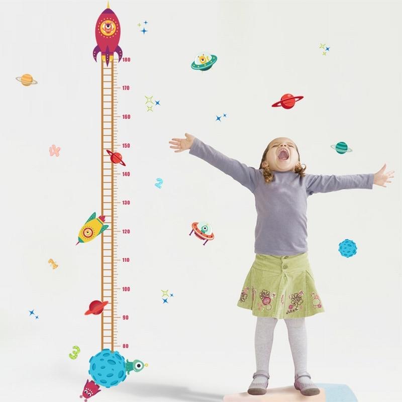 Height Measure Wallpaper Wall Sticker For Kids Room Baby grow  Home Decor Nursery Wall Art Decals Animal Heart