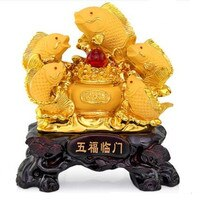 Five carp set out to attract luck feng shui fish resin gold cornucopia handicraft home decor fish statue decoration maison