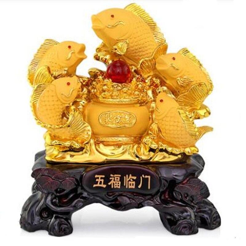 Cinco carpa definido para atrair feng shui peixe resina ouro cornucópia artesanato casa aberta para dar presentes