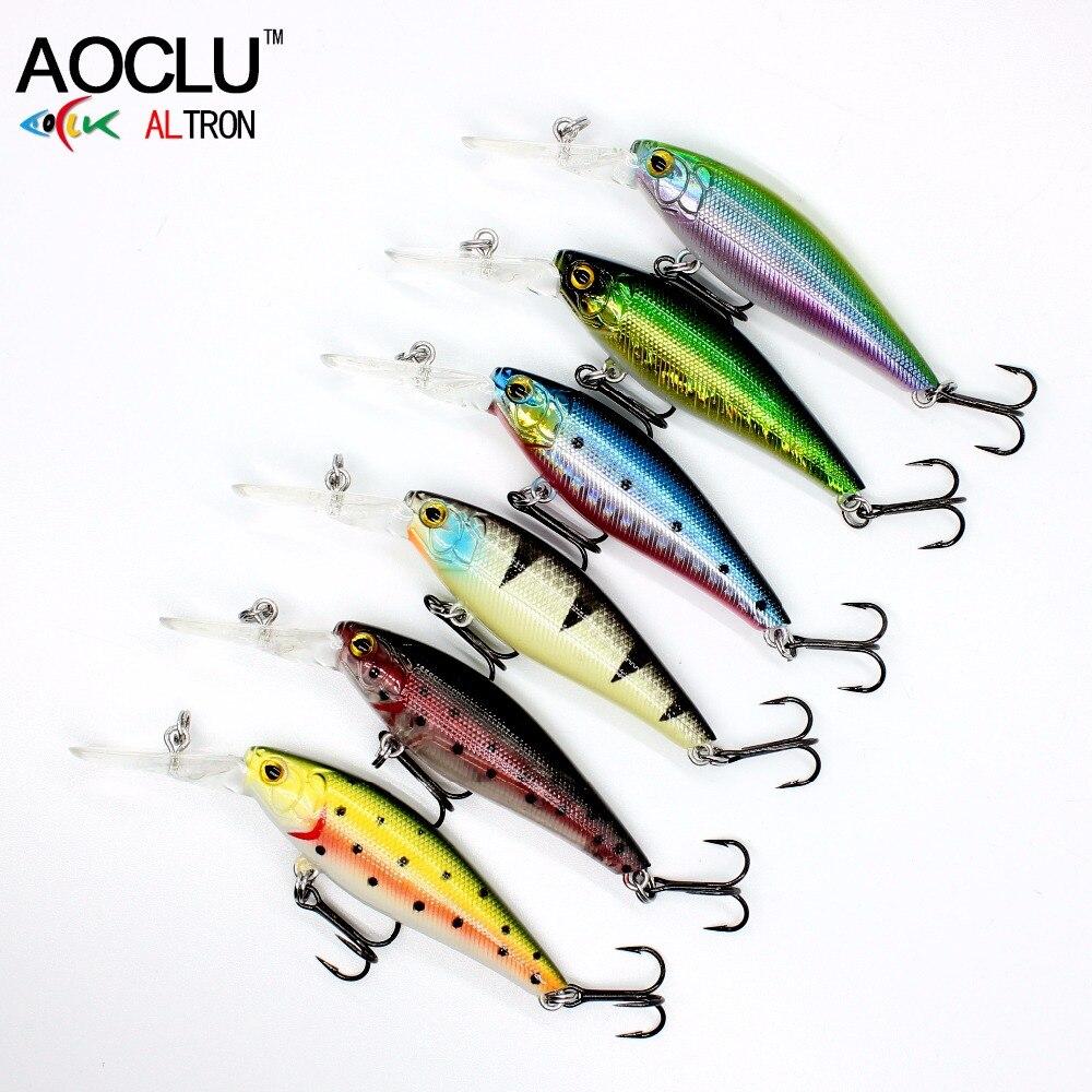 AOCLU NEW LURE wobblers  58mm 5.6g Hard Bait Minnow Crank fishing lure saltwater Bass Fresh VMC hooks 6 colors tackle