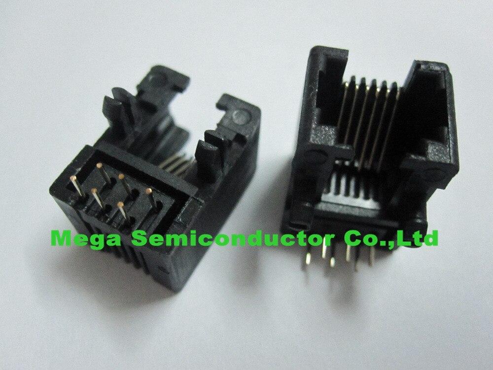 RJ11 PCB Modular network jack socket/ LAN plug 5311 6p6c,4p4c,  side-entry,90degree black