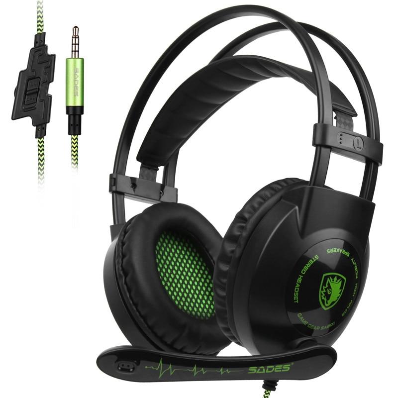 Лучшие предложения SADES SA801 стерео игровая гарнитура игровые наушники шлем 3,5 мм Проводная с микрофоном Регулятор громкости для Xbox One PS4 ноутб...