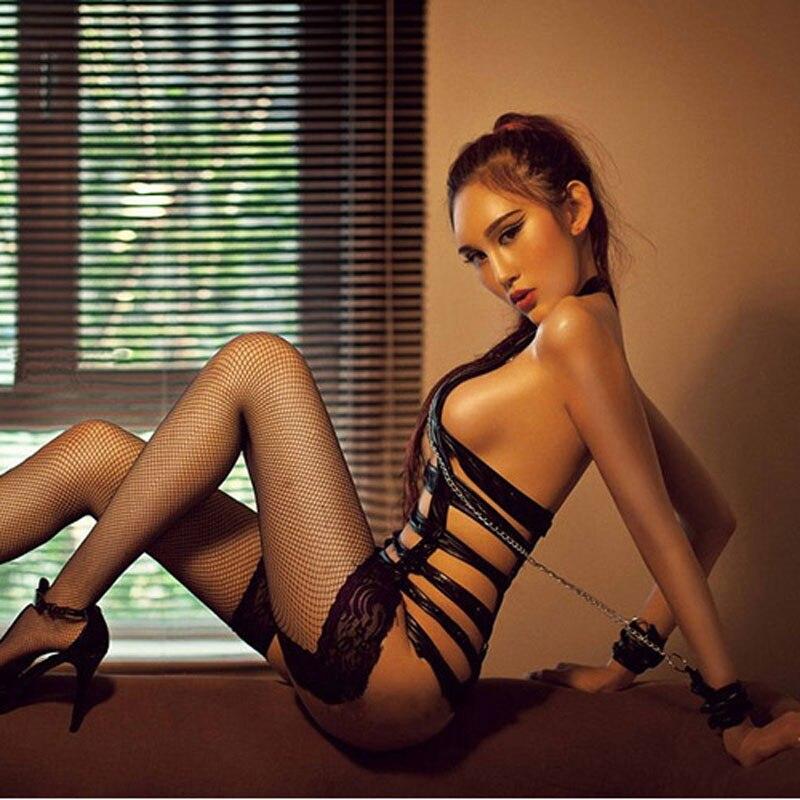 Новое Сексуальное Платье из искусственной кожи в полоску, эротическая одежда для танца на шесте, Эротическое нижнее белье, комбинезон с цеп...