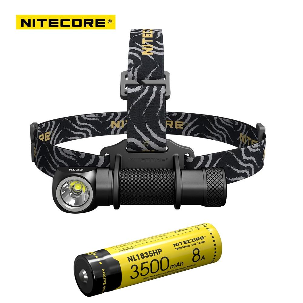 2017 Nuevo Nitecore HC33 CREE XHP35 LED 1800 lúmenes alto rendimiento faro + Nitecore NL1835HP 18650 3500mAh 8A batería