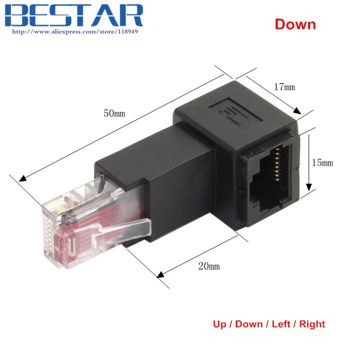 Up & Down & Left & Right Angled 90 Degree 8P8C FTP STP UTP Cat 5e RJ45 Male to Female Lan Ethernet Network Extension Adapter