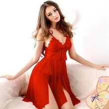 Chemise de nuit de soirée nuisette vêtements de nuit lingerie pour femmes rouge sexy longue robe de nuit robe transparente