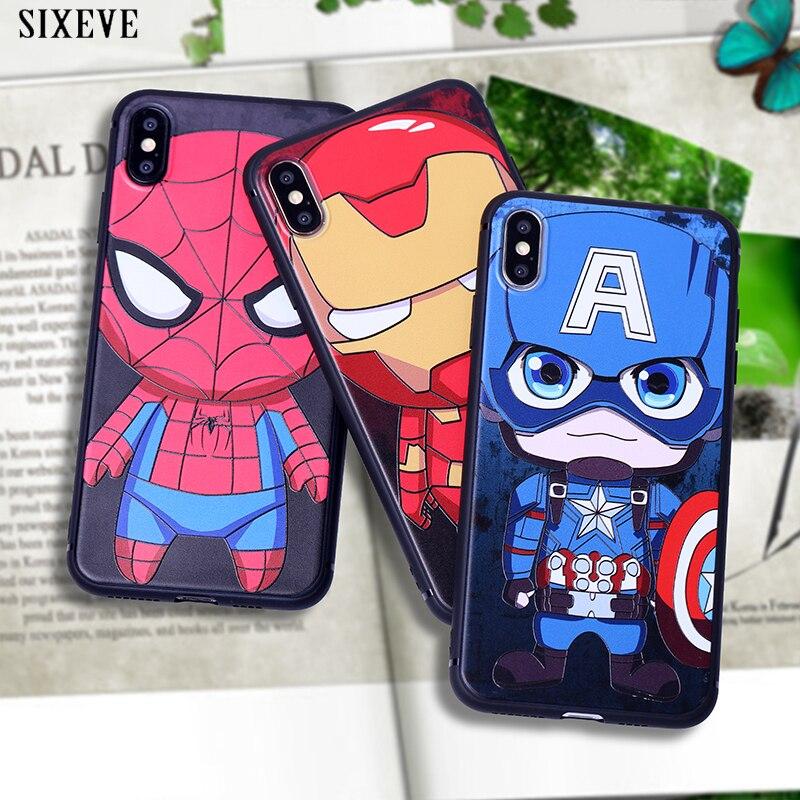 Funda de silicona para iPhone XS Max X XR de spiderman y Marvel Heroes, 8, 7Plus, 8Plus, iPhone 6 S, 6 S y 6Plus