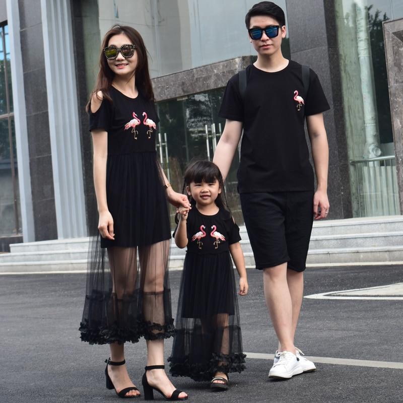 Aiqingsha nuevo verano madre hija vestidos flamenco Cisne unicornio vestido largo madre e hija ropa padre bebé camisas