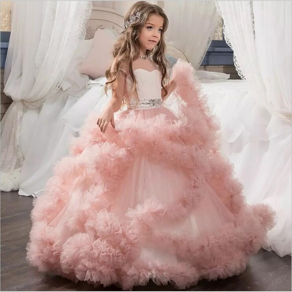 Princess Flower Lace Tutu Girl Dress Wedding Evening Mopping Long Fluffy Elegant Party New Costume Kids Dress Girl WGX-13598