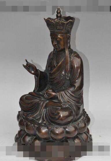 S00958 china budismo bronce lotus Jizo tangseng sanzang monk Ksitigarbha estatua de Buda