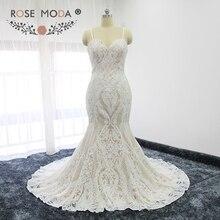 Rose Moda Stunning Sequined Lace Mermaid Wedding Dress Thin Straps Ivory over Blush Wedding Dresses Lace Up Back