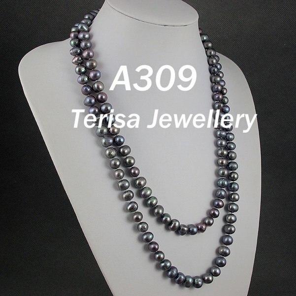 Nuevo envío gratis A309 # nueva AA Natural gris oscuro Color de agua dulce collar de perlas 9-10MM 100cm (40 pulgadas) collar largo