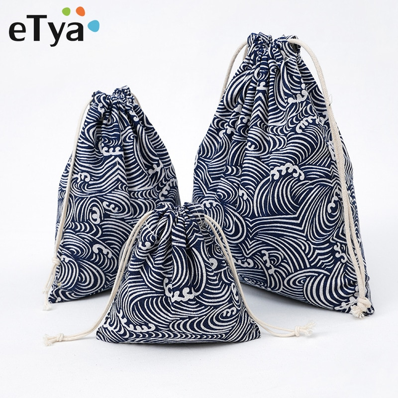 eTya Drawstring Cosmetic Bag Travel Luggage Makeup Case Women Clothes Shoe Make Up Bath Organizer Po
