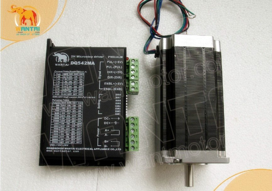 ¡La UE gratis! CNC Wantai Nema 23 Motor paso a paso de un solo eje 425ozin + controlador 4.2A 50 V 125 Micro molino grabador de plástico
