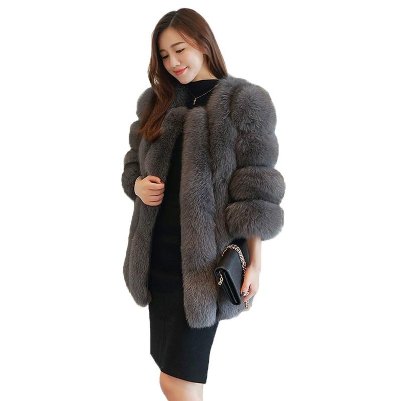 2019 nuevas chaquetas de piel de imitación de zorro de moda de Invierno para mujer abrigos de piel de zorro artificial cálido para mujer elegante chaqueta de piel de zorro falsa para mujer